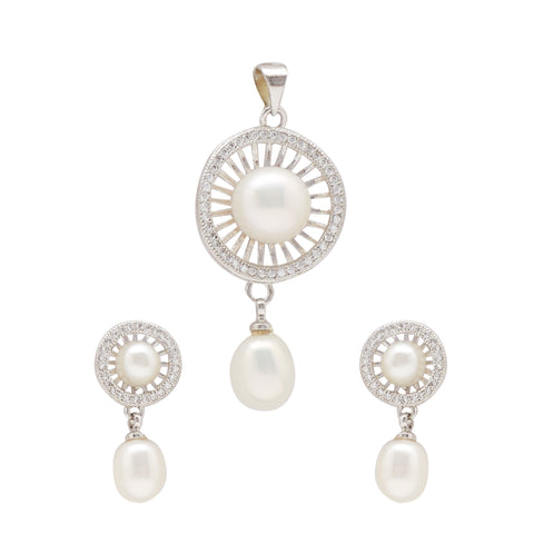 Button Pearls - Pendant Earrings -P0949