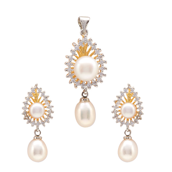 Button Pearls - Pendant Earrings -P0989