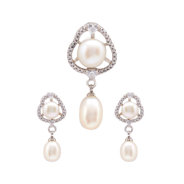 Button Pearls - Pendant Earrings -P0998