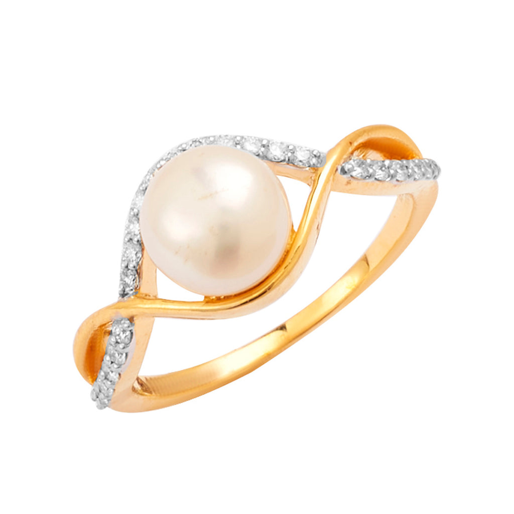 Gold Pearl With Diamond Ring-GRPD158