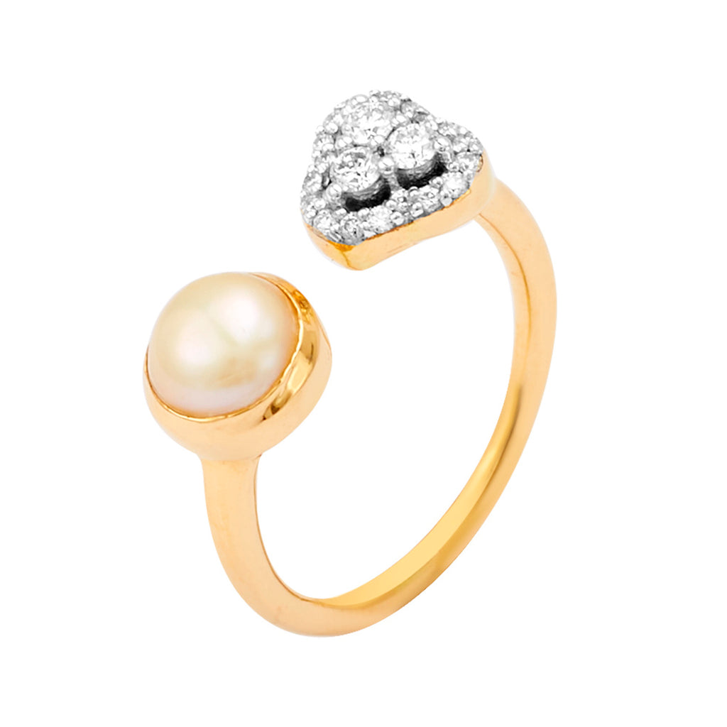 Gold Pearl With Diamond Ring-GRPD166