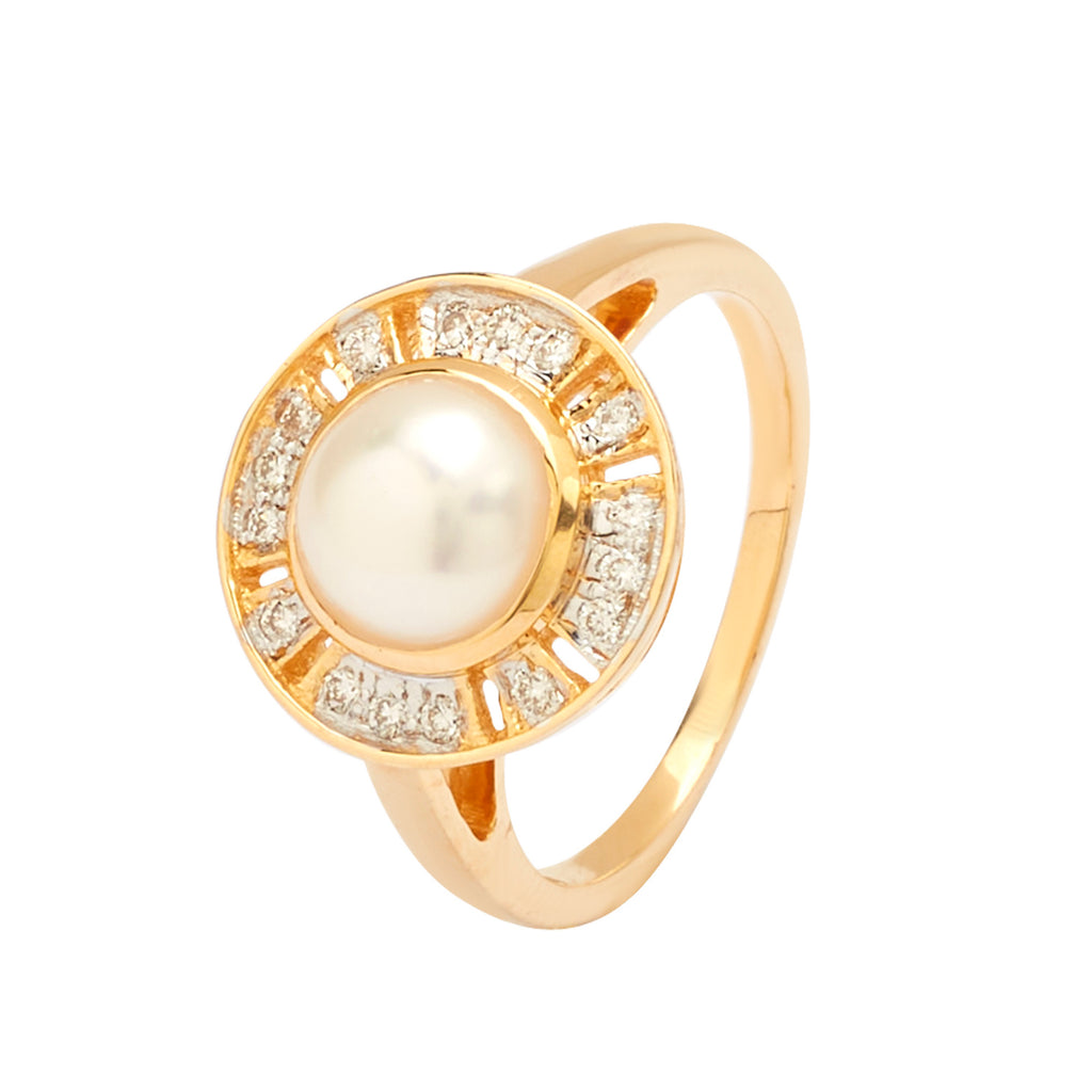 Gold Pearl With Diamond Ring-GRPD173