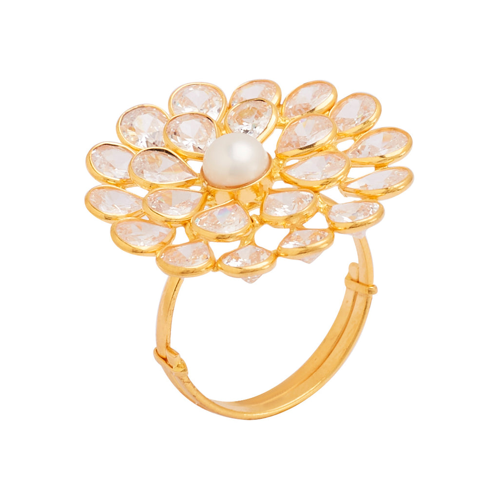 Gold Ring With Pearl and Ruby-GRPS117