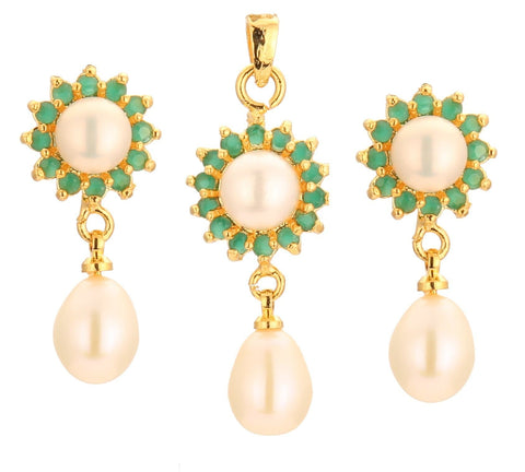 Pearl -Green Stones -Pendant -Earrings -P0752 KrishnaPearlsandJewellers