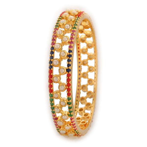 Pearl Bangle with Multi Stones - B0557 KrishnaPearlsandJewellers