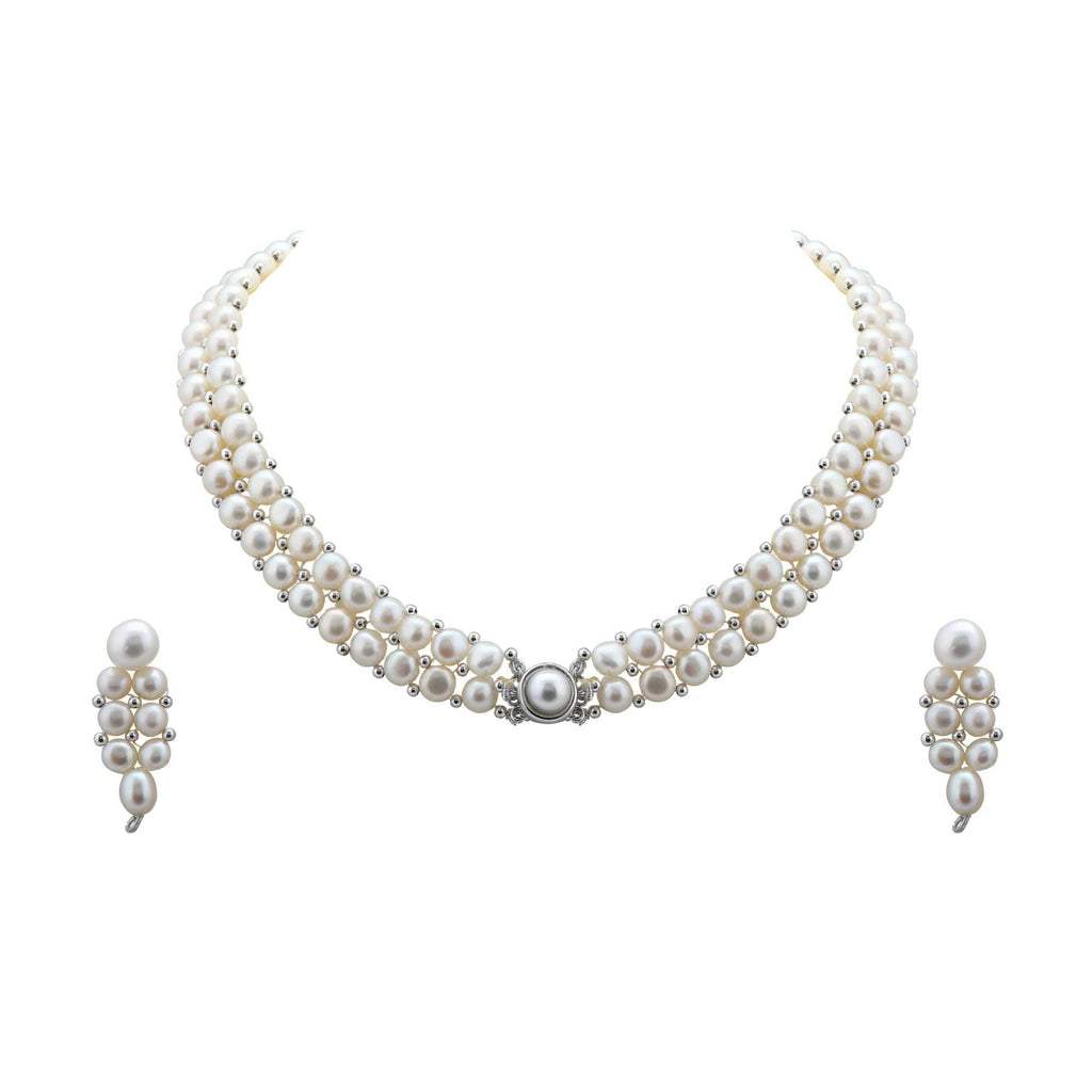 Pearl Choker -Earrings  - H2095 KrishnaPearlsandJewellers