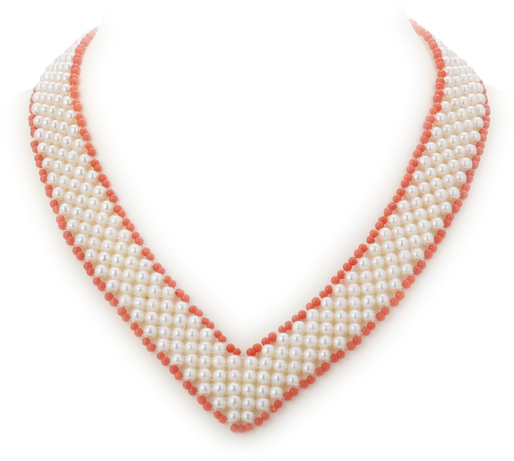 Pearl Choker Necklace in V Shape with Corals-CH015 KrishnaPearlsandJewellers