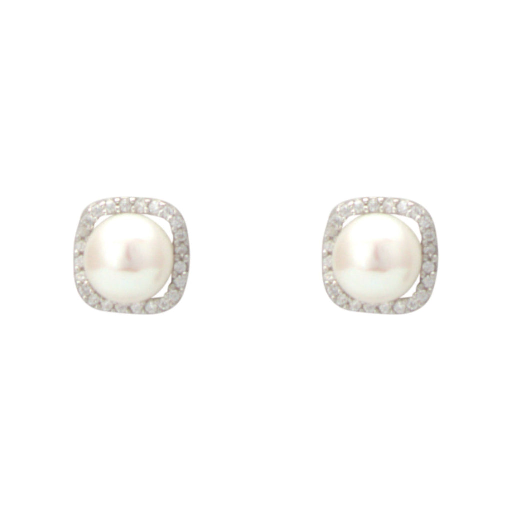 Pearl Earrings Studs with CZ Stones -T3649 KrishnaPearlsandJewellers