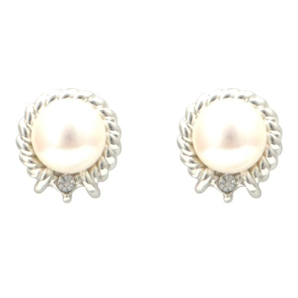 Pearl Earrings Studs with CZ-T1516 KrishnaPearlsandJewellers