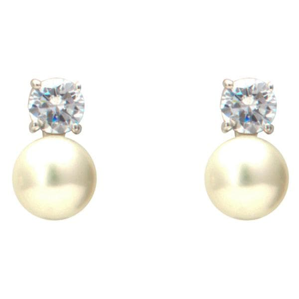 Pearl Earrings Studs with CZ-T3621 KrishnaPearlsandJewellers