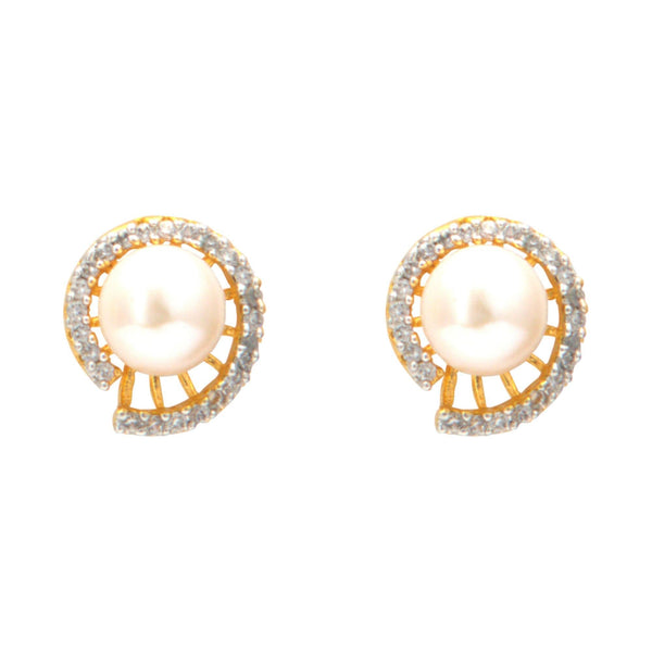 Pearl Earrings Studs with Cz-T3906 KrishnaPearlsandJewellers