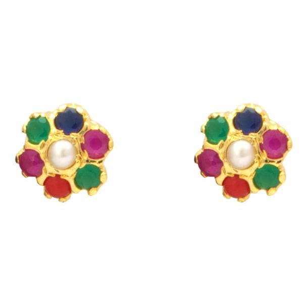Pearl Earrings Studs with Multi Color Stones -T1566 KrishnaPearlsandJewellers