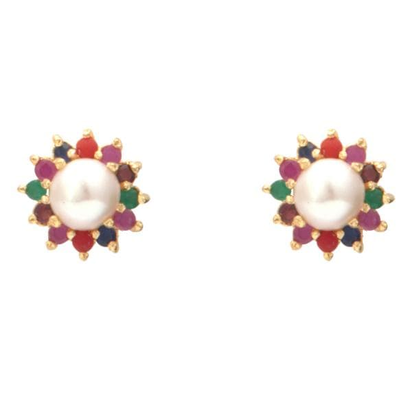 Pearl Earrings Studs with Multi Colored Stones in Flower Design-T4018 KrishnaPearlsandJewellers