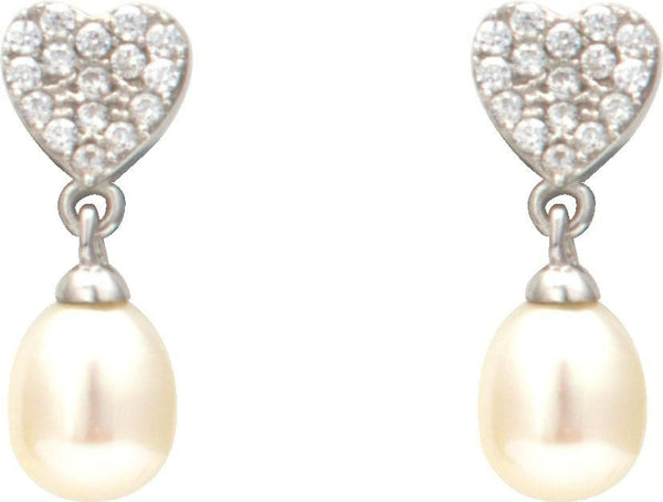 Pearl Heart Earrings -T2449 KrishnaPearlsandJewellers
