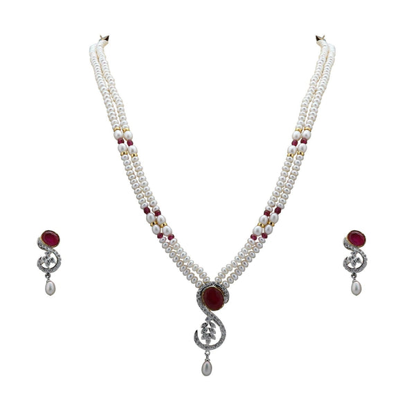 Pearl Set Chain with Earrings - H2197 Krishna Pearls and Jewellers