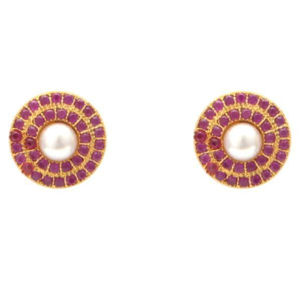 Pearl Studs Earrings with Two Rows Red Stone-T3034 KrishnaPearlsandJewellers