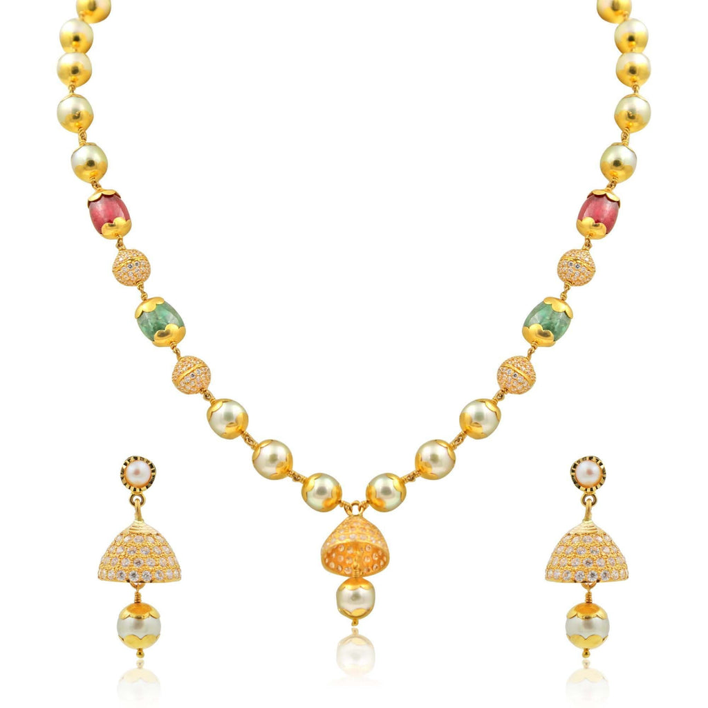Pearl with Gold Set -GSPS922 KrishnaPearlsandJewellers