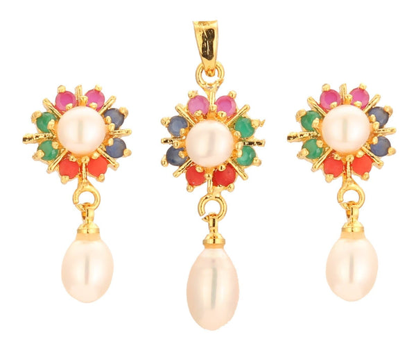 Pearls -MultiStones -Pendant Earrings -P0746 KrishnaPearlsandJewellers