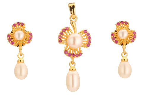 Pearls -Pendant earrings -P0634 KrishnaPearlsandJewellers