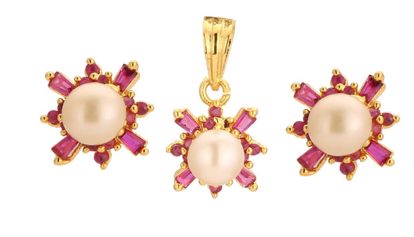 Pearls Pendant -Earrings -P0316 KrishnaPearlsandJewellers