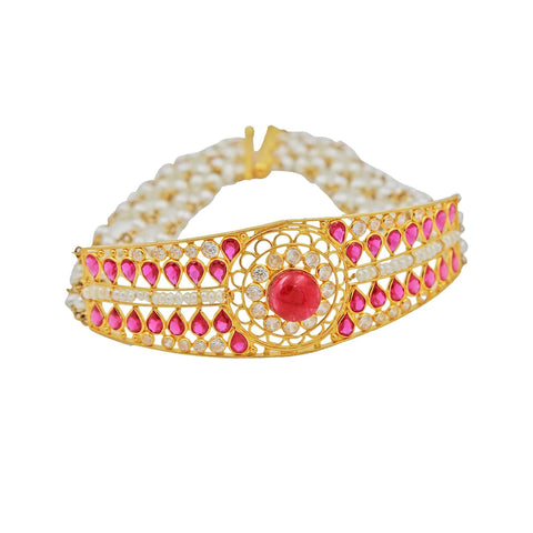 Pearls Semi Bangle Bracelet in Gold with Ruby & Color Stones -GBPS069 KrishnaPearlsandJewellers