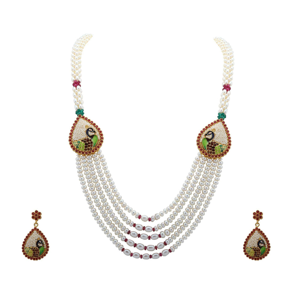 Pearls Set -Peacock Design - H0211. KrishnaPearlsandJewellers