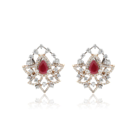 Red Stone -Diamond Earrings -GTD1593 KrishnaPearlsandJewellers