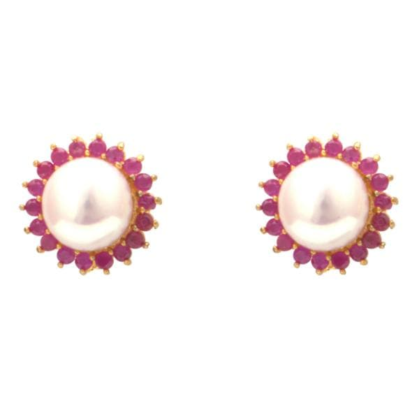 Red Stones Pearl Earrings Studs with Flower Design-T3253 KrishnaPearlsandJewellers