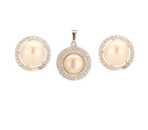 Round CZ Pearls Pendants with Matching Pearl Earrings Studs-P0891 KrishnaPearlsandJewellers