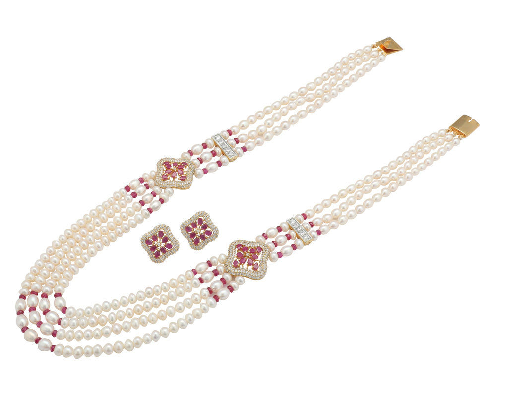 Ruby -Pearl Necklace - H2642 KrishnaPearlsandJewellers