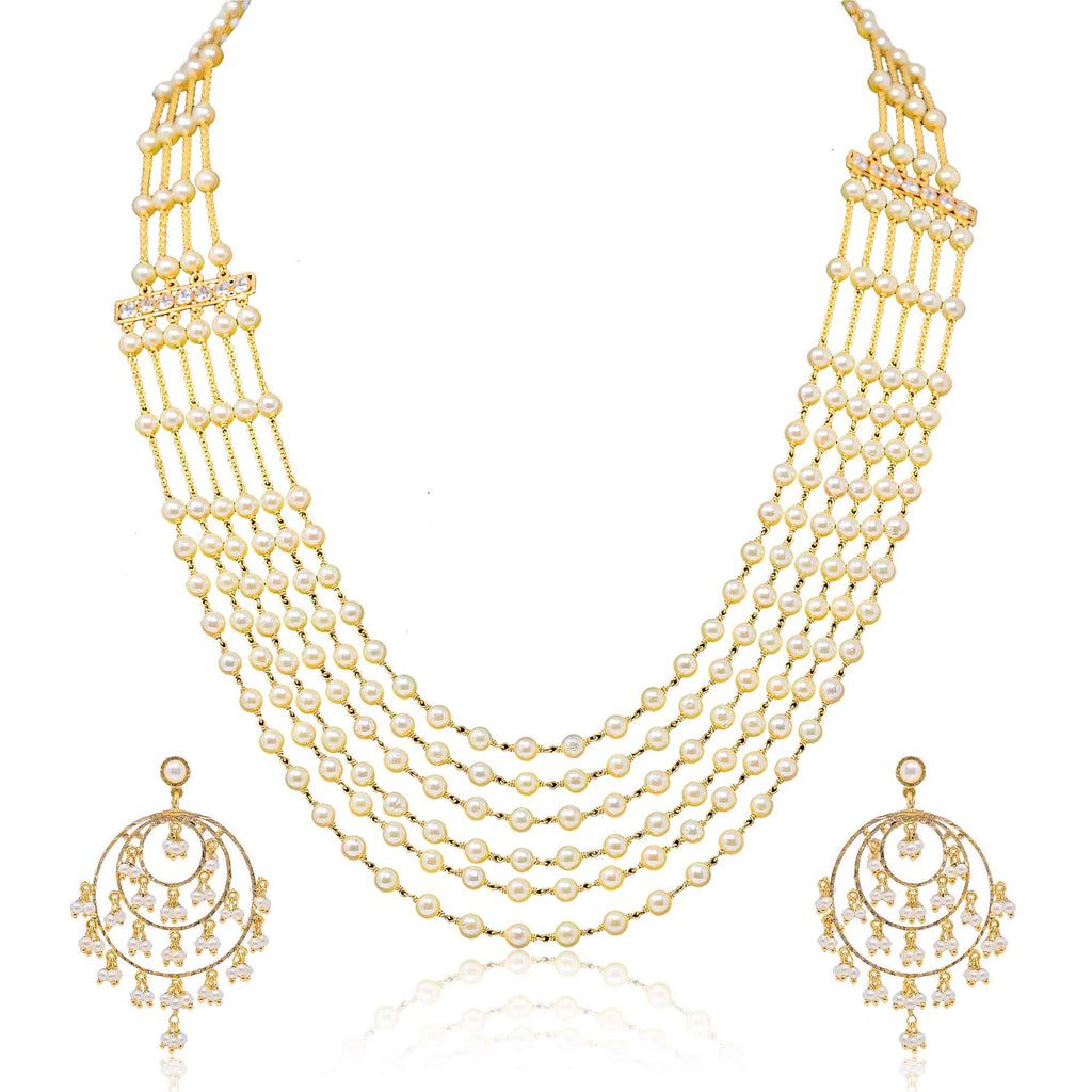 Six line Pearls Necklace & Chandbali Earrings Sets in Gold with Side Broach-GCPS890 KrishnaPearlsandJewellers