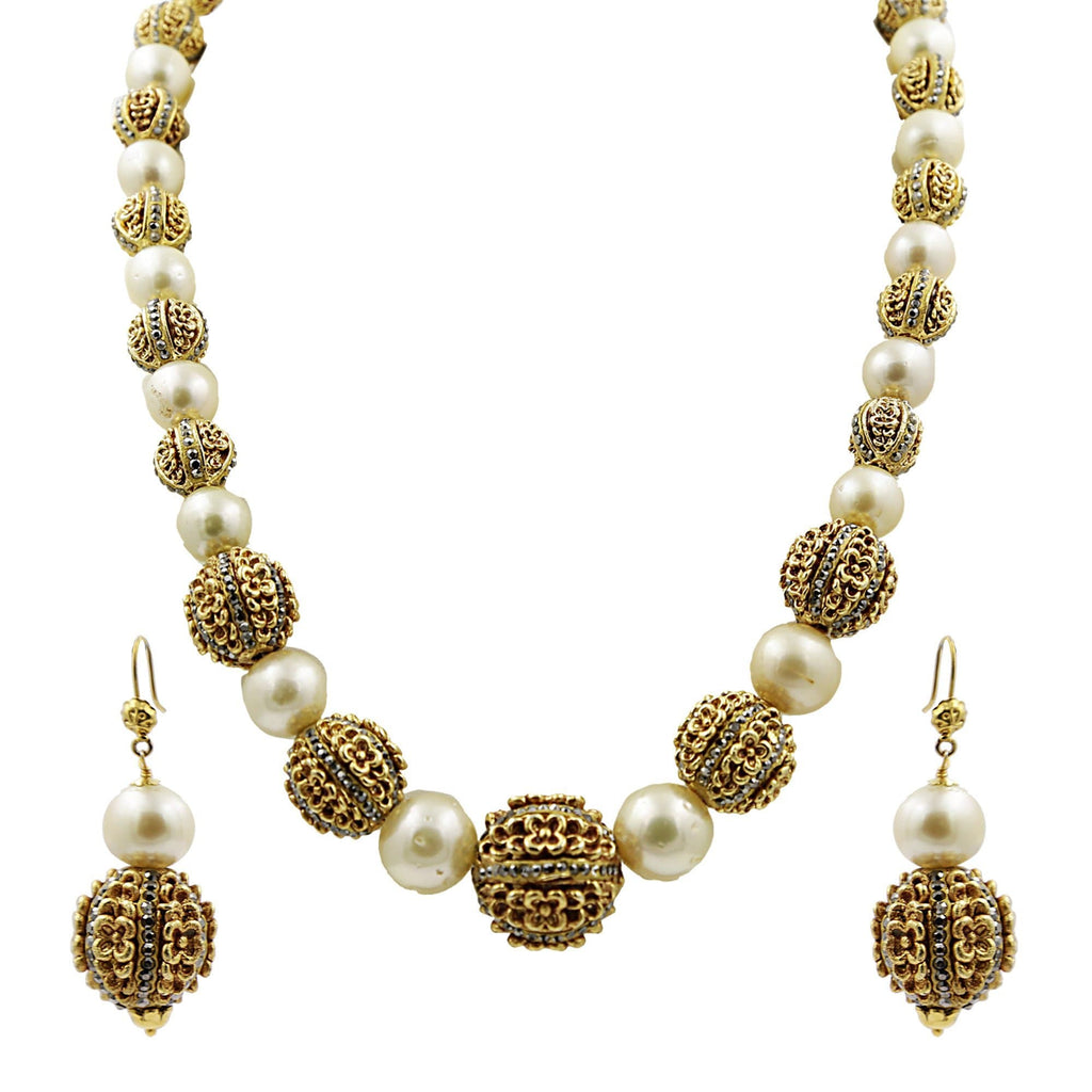 South Sea Pearl -Ball Necklace -Earrings -H2891 KrishnaPearlsandJewellers