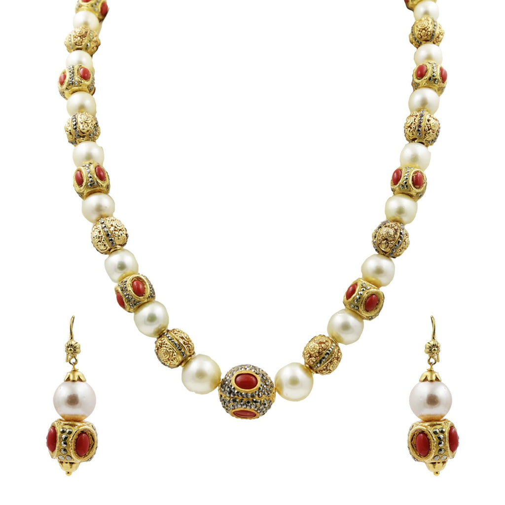 South Sea Pearl Ball Necklace and Earrings Designed with Multi Stones -H2895 KrishnaPearlsandJewellers
