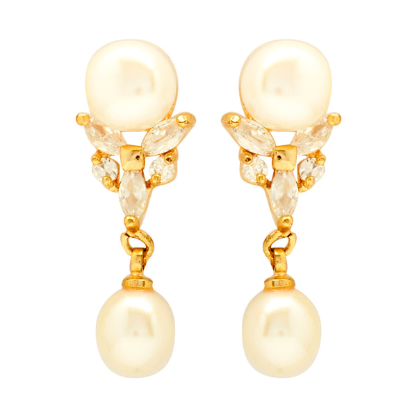 Round Pearl Hanging with CZ Earrings -T3008