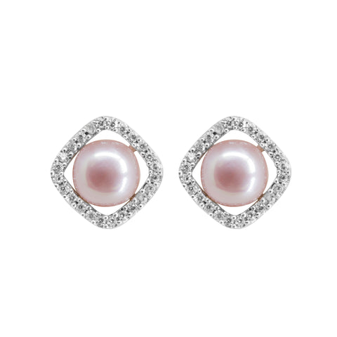 Pearl Studs Earrings with Pink Color -T3650