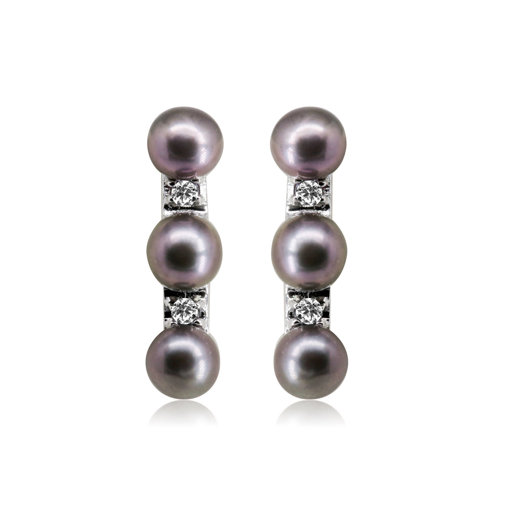 Shade Black Round Pearl Earrings - T3702