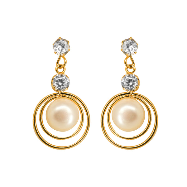 Round Pearl Hanging with CZ Earrings -T3724