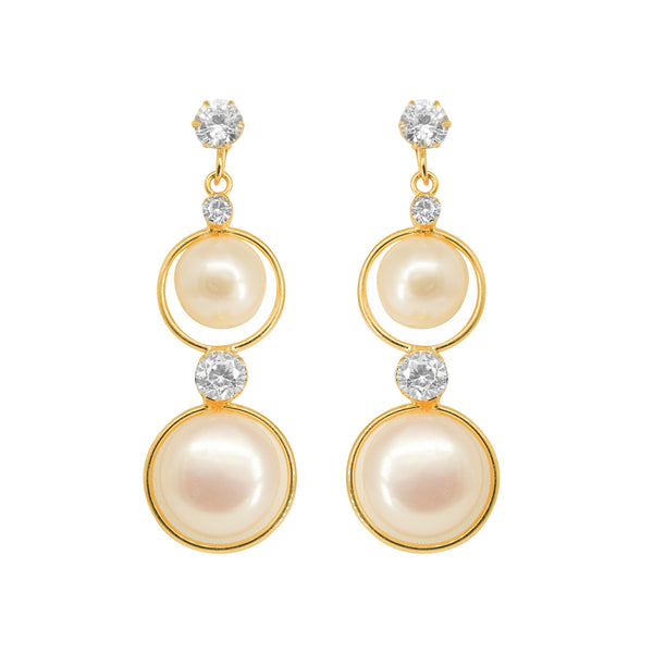 Round Pearl Hanging CZ Stone - T3731