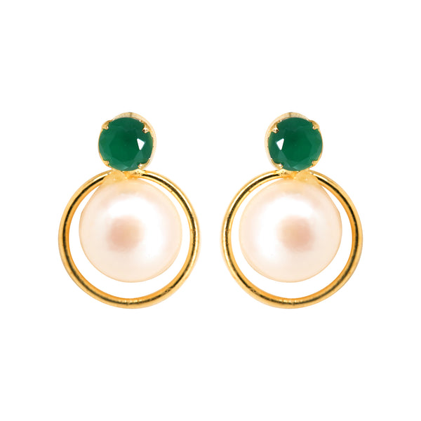 Pearl Studs with Green Stone T3978