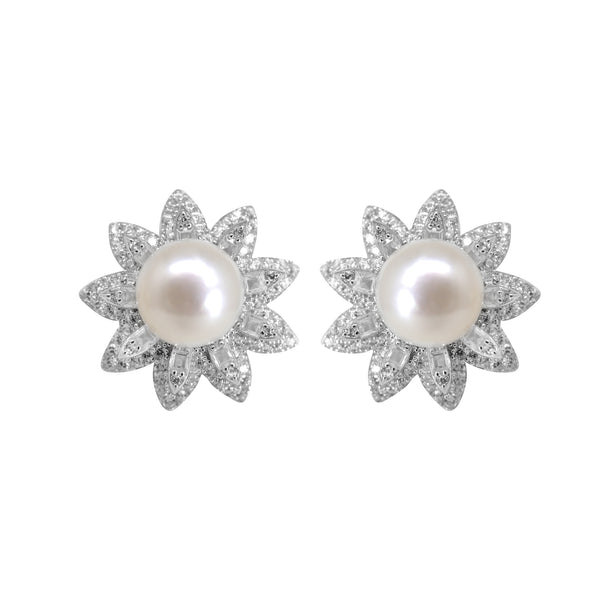Pearl Earrings Studs with CZ-T4166