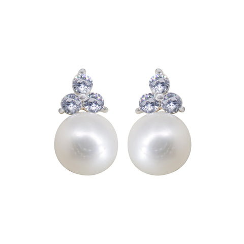 Pearl Earrings Studs with CZ-T4171