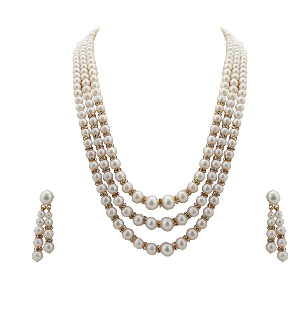 Three Line Pearl Chains with CZ Earrings - SH133 KrishnaPearlsandJewellers