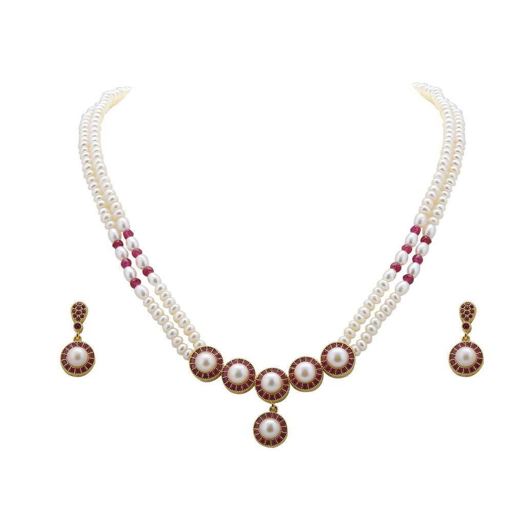 Two Line Red Stones Pearl Chains with Pendant & Earrings Sets - H1705 KrishnaPearlsandJewellers