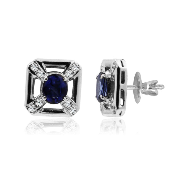 White Gold earrings with Diamond and Blue Sapphire -GTBS079 KrishnaPearlsandJewellers
