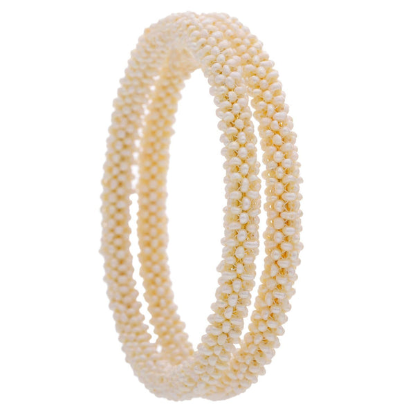White Pearl Bangle - BG891 KrishnaPearlsandJewellers