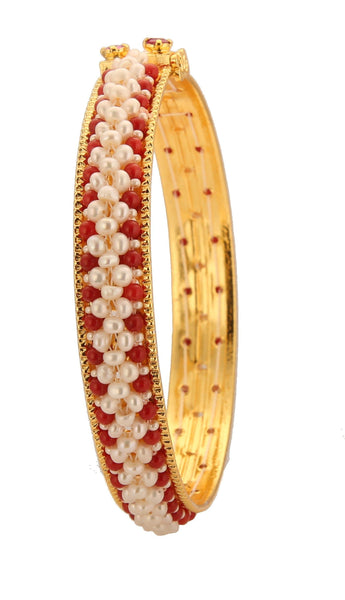 White Pearl Bangles with Red Pearl Boarder- BG209 KrishnaPearlsandJewellers