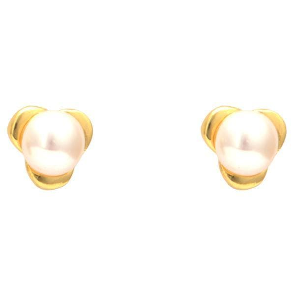 White Pearl Stud Earrings-T1557 KrishnaPearlsandJewellers