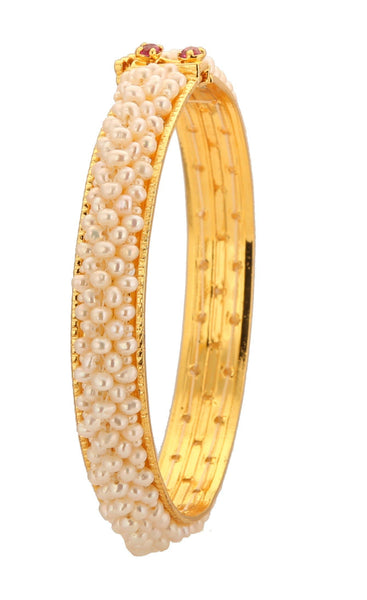 White Seed Pearl Bangle - BG203 KrishnaPearlsandJewellers