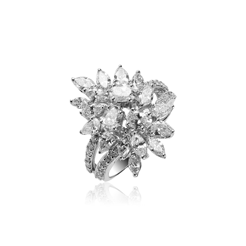 White gold In Diamond Flower Ring -GRD1567 KrishnaPearlsandJewellers