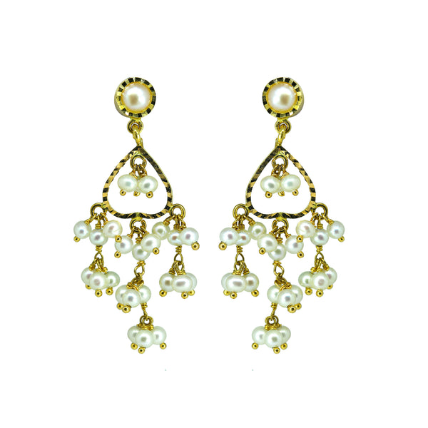 Gold Pearls Hanging Earrings -GTWH487